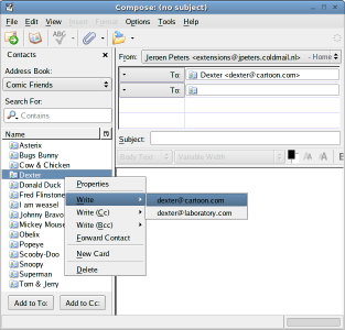 Screenshot of Contacts Sidebar extension in Thunderbirds compose window