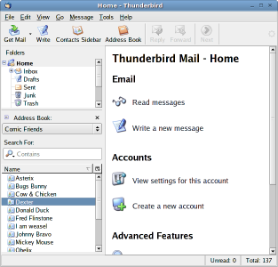 Screenshot of Contacts Sidebar extension in Thunderbirds main window